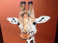 Giraffe acrylic on canvas   On exhibition Arvys Gallery Olinda  sold Take a look at my web site (www.artonpartridge.wix.com/artist) Animal Paintings, Art Work, Giraffe, Original Artwork, Canvas, Gallery, Artist, Animals, Olinda