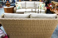 Wheat Woven Light honey finish Wingback Priced Separately Sofa $699 Loveseat $599