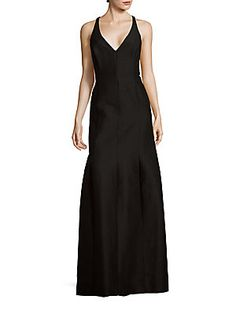Halston Solid Cotton-Blend Sleeveless Gown - Black - Size