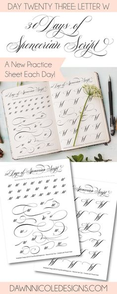 Spencerian Script Style: Letter W Worksheets. This post is part of the 30 Days of Spencerian Script Style Worksheets series. I'm posting a new free Spencerian Style Practice Worksheet every day for thirty days!