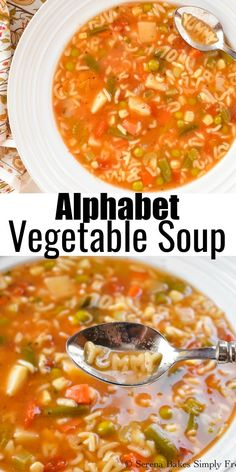 Homemade Alphabet Vegetable Soup recipe is always a favorite soup! This is a favorite easy soup recipe kids love and adults since you can play with your food. A hearty and delicious soup packed with veggies from Serena Bakes Simply From Scratch.