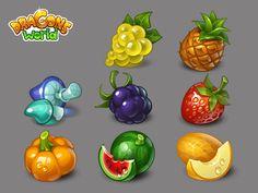 Social Quantum / Projects / Dragons' World | Dribbble Prop Design, Game Design, Game Concept, Concept Art, Level Design, World Icon, Farm Games, 2d Game Art, Game Props