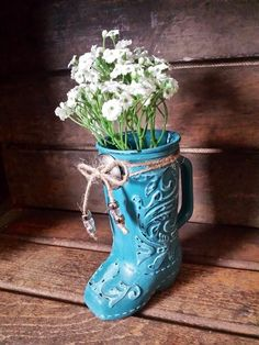Glass boot turquoise country decor western decor vintage chic RTS - pinned by pin4etsy.com