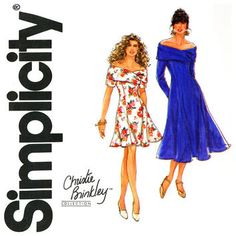 Off Shoulder Dress Pattern Uncut Bust 32 to 36 Simplicity 7618 Christie Brinkley Fit and Flare