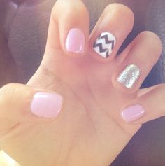 Chevron and silver sparkle with baby pink nails!
