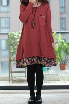 1/5 color/Red Long Dress / Casual Dress/Cotton by Eloneeclothing,