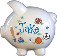 Personalized Large Piggy Bank - Sports Design for Boys Large Piggy Bank, Personalized Piggy Bank, Sports Games For Kids, Money Bank, Childrens Gifts, Hand Painted Ceramics, Gifts For Boys, Baby Gifts, Etsy