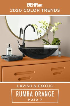 Lavish and exotic, you'll love the unique energy that BEHR® Paint in Rumba Orange brings to your home. As part of the BEHR 2020 Color Trends Palette, this modern hue can be incorporated into a variety of interior design styles. Try using it as an accent color, like on this painted bathroom vanity, to add a bright pop of color to your home. Click below for full color details to learn more.