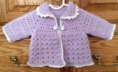 Crochet Baby Girl Sweater - 0 to 3 Months - Lilac and White on Etsy, $25.00