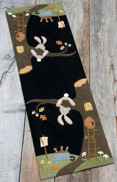 Wool Applique - Gather at the Olde Oak Tree - Choice of Pattern Only or Wool Kit with Pattern Wool Embroidery, Wool Applique, Applique Quilts, Felt Patterns, Applique Patterns, Print Patterns, Penny Rugs, Wool Quilts, Decoupage Vintage