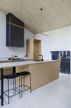 The cabinetry extending to become a portal around doorway=so nice. Baffle House | Clare Cousins Architects