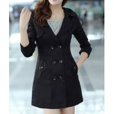 Stylish Hooded Collar Solid Color Double-Breasted Long Sleeve Women's Trench Coat