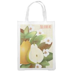 #Hawaiian Tropical Pears Fruit Botanical Flowers Reusable Grocery Bag - #floral #gifts #flower #flowers