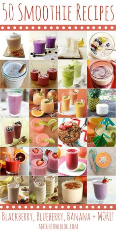 50 Fabulous Smoothie Recipes. Perfect healthy breakfast idea.