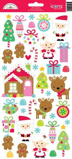 Doodlebug Design - Sugarplums Collection - Christmas - Cardstock Stickers - Icons