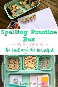 a peek inside our spelling practice box and see how we use it with The Good and the Beautiful's language arts curriculum!Take a peek inside our spelling practice box and see how we use it with The Good and the Beautiful's language arts curriculum! Spelling Practice, Spelling Rules, Spelling Test, Spelling Activities, Spelling Ideas, Reading Activities, Lela Rose, Language Arts Games, Homeschool Curriculum