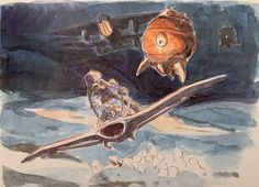 Images Drawn for the Nausicaa Motion Picture ===== Released March 1984 - image boards, tapestries drawn for the opening, etc ===== Notes: Nausicaa & Abel flying across the Sea of Corruption by Mehve