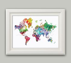 World Map Print Colorful 3 Watercolor World Map Wall Art Travel Map Vintage Style Map Living Room Wall Art Travel Art Colorful Art Print Water Color World Map, World Map Wall Art, Travel Maps, Vintage Fashion, Vintage Style, Watercolor, Art Prints, Handmade Gifts, Colorful