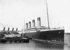 The sister ship of Titanic, RMS Olympic with RMS Lusitania departing in the background, 1911  #RMS Olympic#RMS Lusitania#1911#liner