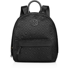 Tory Burch Ella Quilted Backpack ($315) ❤ liked on Polyvore featuring bags, backpacks, black, tory burch backpack, quilted bags, rucksack bags, tory burch and daypack bag