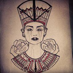 Finally finished :) looks so My Nefertiti design for my brand . Ancient Tattoo, Egyptian Tattoo, Cool Tats, Awesome Tattoos, Tattoo Designs For Women, Tatting, Body Art, Tattoo Ideas, Cool Stuff