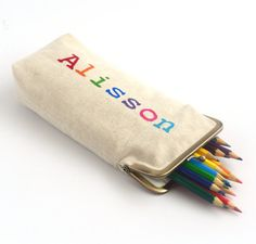 Personalized Pencil Pouch   Pencil Case  Storage by BagsCloset