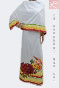 A White Rida With Multi Lacing Cross Stitch Centre Bunch.  Price-Rs.3652