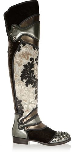Dolce & Gabbana Metallic leather, brocade and velvet over-the-knee boots on shopstyle.com