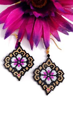 Bead Embroidery Jewelry For You or Someone You Love by SplendidBeadsBklyn Seed Bead Jewelry, Seed Bead Earrings, Seed Beads, Hoop Earrings, Beaded Earrings Patterns, Beading Patterns, Bracelet Patterns, Bead Embroidery Jewelry, Beaded Embroidery