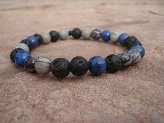 Lava Stone Bracelet with Denim Lapis by MakeMeSmileJewelry on Etsy