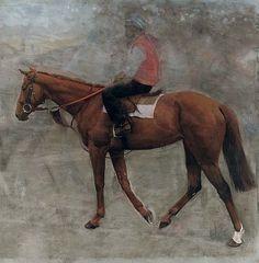 Study of Mahogany , with jockey up