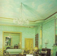 Painting of The King's Apartments in The Royal Pavilion, Brighton, East Sussex