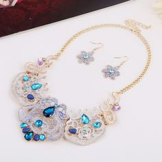 Zinc Alloy Jewelry Sets, earring & necklace, with iron chain & Crystal & Resin, brass earring hook, with 8cm extender chain, Flower, gold color plated, oval chain & enamel & faceted & with rhinestone, more colors for choice, lead & cadmium free, 50x25mm, 130x70mm, Length:Approx 15.5 Inch,china wholesale jewelry beads
