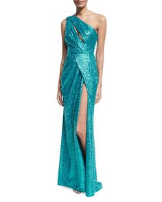 Sequined+Drape-Front+One-Shoulder+Gown,+Blue+by+Elie+Saab+at+Neiman+Marcus.