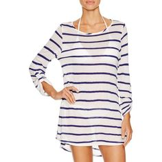 Splendid Stripe Knit Tunic Swim Cover Up featuring polyvore, fashion, clothing, swimwear, cover-ups, navy, crochet beach cover-ups, striped swimwear, cover up swimwear, knit cover up and crochet cover-up