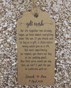 Wedding Money Gift Poem Honeymoon Wishing Well Personalised