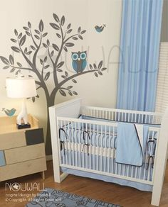 Owl on Tree Wall decal Vinyl Nursery children Kid por NouWall