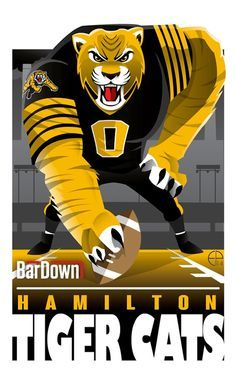 (Eric Poole) is at it again, this time with the CFL. Here is his rendition for the Hamilton Tiger-Cats. Football Images, Football Art, Collage Football, Canadian Football League, American Football, Sports Decals, Sports Logos, Sports Art, Golden State Warriors Championships
