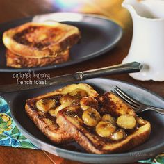 Decadent french toast with home made caramel sauce and bananas recipe at TidyMom.net