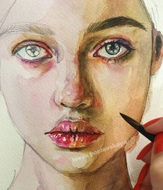 🌒 Great artwork in progress ✍️ ☺️ Sketch or Watercolor? Watercolor Portraits, Art Gallery, Face Art, Watercolor Portrait Tutorial, Watercolor Artist, Watercolor Face, Art, Portrait Painting, Face Drawing