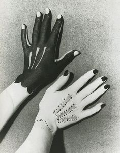 Hands - Man Ray, Pablo Picasso - Photograph, Body paint on hands - Man Ray's photograph of hands painted with the image of gloves by Pablo Picasso.