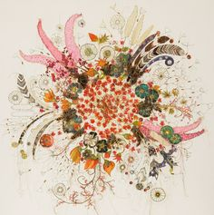Louise Gardener, 'Spinning Spontaniums' Free machine embroidery, ink and painting on canvas.