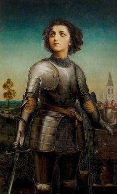 Gilbert Anthony Pownall (1876-1938) - Alice Maud Mary Arcliffe (1852–1936), as Joan of Arc. Circa 1914. 76.5cm x 47.5cm. Shakespeare Memorial Commemoration, 1889.