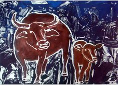 Use glue to draw the cow using contour lines. Paint when dry.