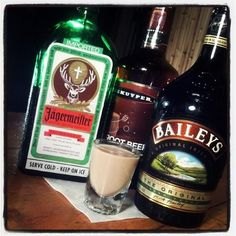 This is the Jaker Shake Shot! #jagermeister #baileys #schnapps  This sounds like a horrible combination