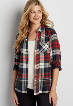 button down plaid shirt in red, green, and navy blue plaid