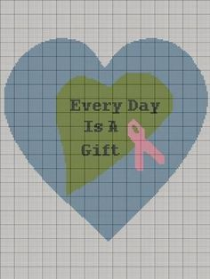 CROCHET PATTERN EVERY DAY IS A GIFT HEART BREAST CANCER RIBBON AWARENESS AFGHAN GRAPH E-MAILED.PDF CROSS STITCH KNITTING