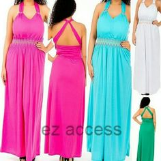 "SALE Plus size  halter summer sun maxi dress NWT. Please ask for size and color availability..,  *3 colors are available - Blue, Green, Hot pink.  This Gorgeous sexy long maxi dress by ""LAST EXIT""  It features   padded bust (*it does show through the fabric a bit). rings at the shoulders straps. a criss cross back (straps fabric is raw/unsew) smocked elastic waist with multi colored embroidery. Dress are made of 100% rayon t-shirt like fabric so you may need to wear a slip.  *PRICE IS FIRM…"