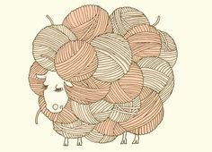 Check out the design Georgia by Whitney Shaw on Threadless Knitting Humor, Crochet Humor, Knitting Projects, Sheep Illustration, Sheep Art, Knit Art, Yarn Shop, Bead Crochet, Wool Yarn