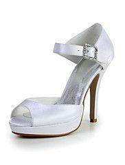 Bridal Satin Stiletto Peep Toe Sandals with Buc... – USD $ 49.99